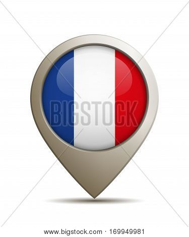 Vector Illustration Of A Straight Location Pin With French Flag