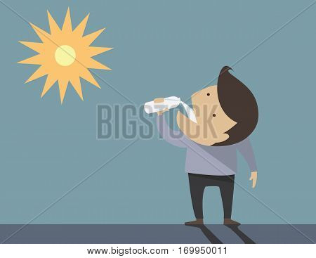 Men drinking water on a hot day