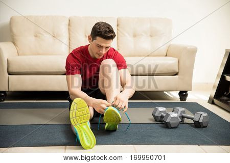 Man Getting Ready To Exercise At Home