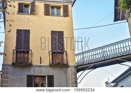 Langhe, Piedmont (Italy): typical house facade. Color image