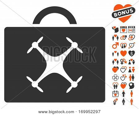 Drone Toolbox pictograph with bonus passion symbols. Vector illustration style is flat iconic symbols for web design app user interfaces.
