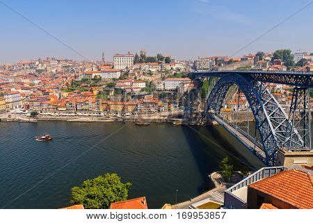 May 15 2012: Panorama of Luis I Bridge over the Douro river. Porto, Portugal