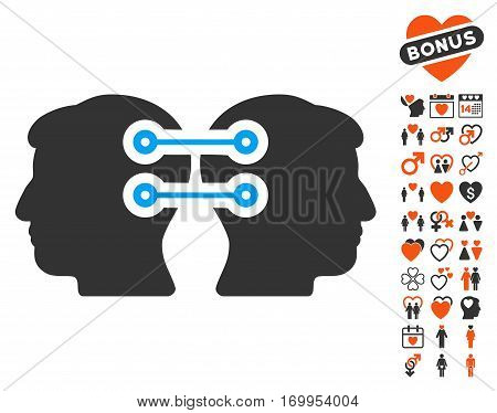 Dual Heads Interface Connection pictograph with bonus love design elements. Vector illustration style is flat iconic elements for web design app user interfaces.