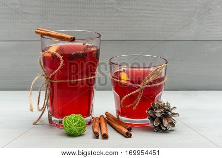 Tea Or Mulled Wine With Cinnamon And Pinecone At Christmas
