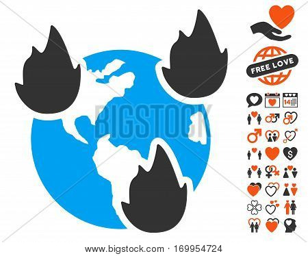 Earth Disasters pictograph with bonus lovely images. Vector illustration style is flat iconic symbols for web design app user interfaces.