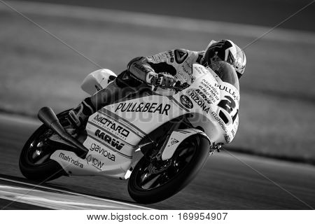 VALENCIA, SPAIN - NOV 11: Francesco Bagnaia during Moto3 practice in Motogp Grand Prix of the Comunidad Valencia on November 11, 2016 in Valencia, Spain.