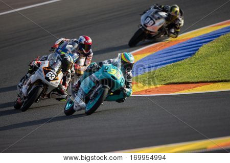 VALENCIA, SPAIN - NOV 11: 63 Perez, 36 Mir during Moto3 practice in Motogp Grand Prix of the Comunidad Valencia on November 11, 2016 in Valencia, Spain.