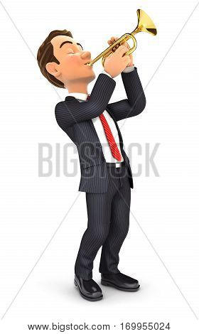 3d businessman playing trumpet illustration with isolated white background