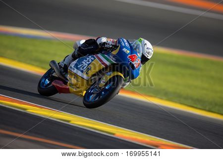 VALENCIA, SPAIN - NOV 11: Stefano Valtulini during Moto3 practice in Motogp Grand Prix of the Comunidad Valencia on November 11, 2016 in Valencia, Spain.