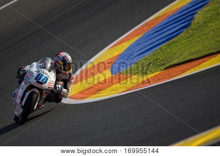 VALENCIA, SPAIN - NOV 11: Jorge Martin during Moto3 practice in Motogp Grand Prix of the Comunidad Valencia on November 11, 2016 in Valencia, Spain.