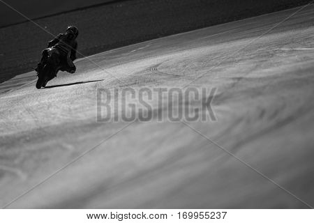 VALENCIA, SPAIN - NOV 11: Moto3 practice in Motogp Grand Prix of the Comunidad Valencia on November 11, 2016 in Valencia, Spain.