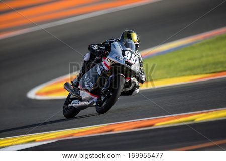 VALENCIA, SPAIN - NOV 11: Enzo Boulom during Moto3 practice in Motogp Grand Prix of the Comunidad Valencia on November 11, 2016 in Valencia, Spain.