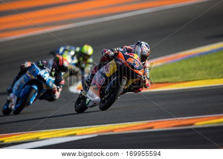 VALENCIA, SPAIN - NOV 11: 64 Bendsneyder, 44 Canet during Moto3 practice in Motogp Grand Prix of the Comunidad Valencia on November 11, 2016 in Valencia, Spain.