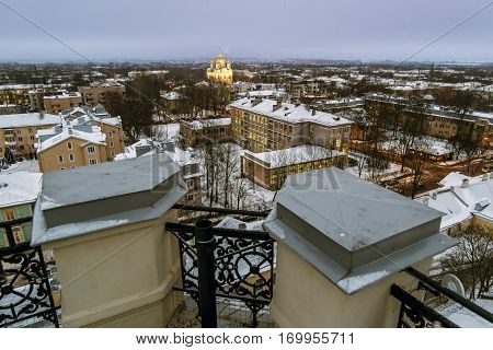 Pushkin .Russia. December 15 2016. Views Catherine's Cathedral and the rooftops of the city at Tsarskoe Selo in winter . Saint-Petersburg.
