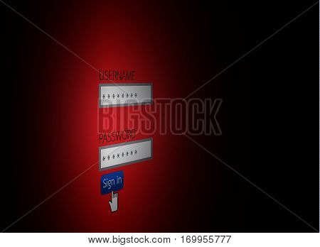 Password Concept Hacking Internet Social Network Vector Illustration
