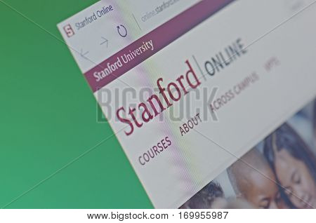 SARANSK, RUSSIA - FEBRUARY 06, 2017: A computer screen shows details of Stanford Online main page on its web site. Selective focus.