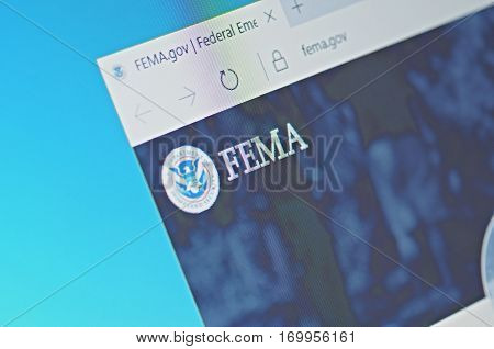SARANSK, RUSSIA - FEBRUARY 06, 2017: A computer screen shows details of Federal Emergency Management Agency main page on its web site. Selective focus.