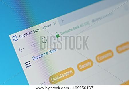 SARANSK, RUSSIA - FEBRUARY 06, 2017: A computer screen shows details of Deutsche Bank newsroom page on its web site. Selective focus.
