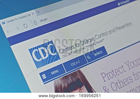SARANSK, RUSSIA - FEBRUARY 06, 2017: A computer screen shows details of Centers for Disease Control and Prevention main page on its web site. Selective focus.