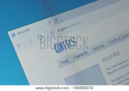 SARANSK, RUSSIA - FEBRUARY 06, 2017: A computer screen shows details of Internal Revenue Service main page on its web site. Selective focus.