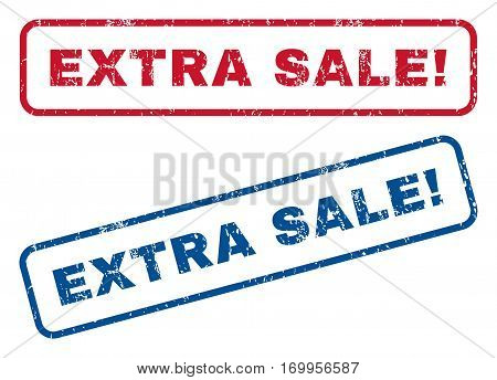 Extra Sale exclamation text rubber seal stamp watermarks. Vector style is blue and red ink caption inside rounded rectangular banner. Grunge design and dust texture. Blue and red emblems.