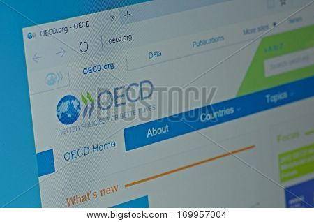 SARANSK, RUSSIA - JANUARY 17, 2017: A computer screen shows details of Organisation for Economic Co-operation and Development (OECD) main page on its web site. Selective focus.