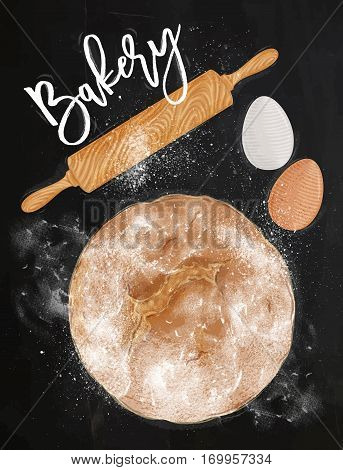 Poster bakery with illustrated egg rolling pin bread in vintage style lettering bakery drawing on chalkboard background