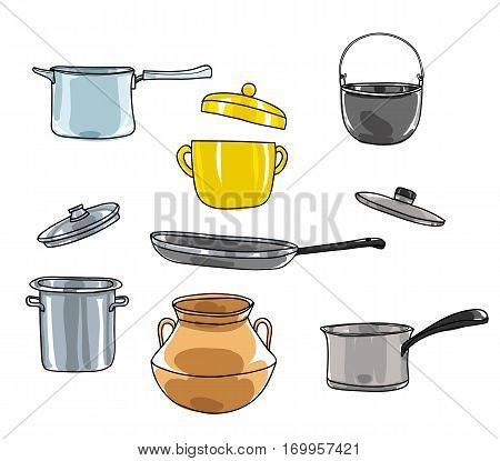 Pots Set.art Vintage Pot Vector Hand Drawn Cute Illustration