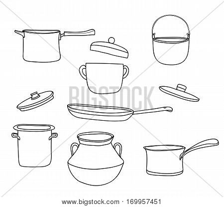 Pots Set.art Vintage Pot Vector Hand Drawn Line Art Cute Illustration