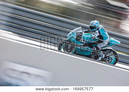 VALENCIA, SPAIN - NOV 12: Miguel Oliveira in Moto2 practice during Motogp Grand Prix of the Comunidad Valencia on November 12, 2016 in Valencia, Spain.