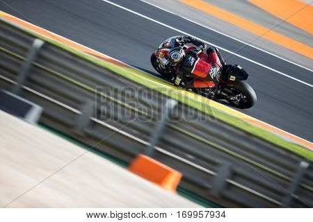 VALENCIA, SPAIN - NOV 12: Axel Pons in Moto2 practice during Motogp Grand Prix of the Comunidad Valencia on November 12, 2016 in Valencia, Spain.