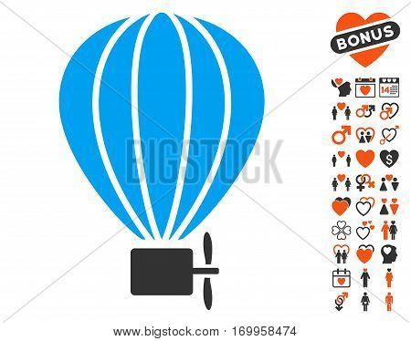 Aerostat Balloon icon with bonus romantic symbols. Vector illustration style is flat iconic elements for web design app user interfaces.