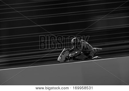 VALENCIA, SPAIN - NOV 12: Edgar Pons in Moto2 practice during Motogp Grand Prix of the Comunidad Valencia on November 12, 2016 in Valencia, Spain.