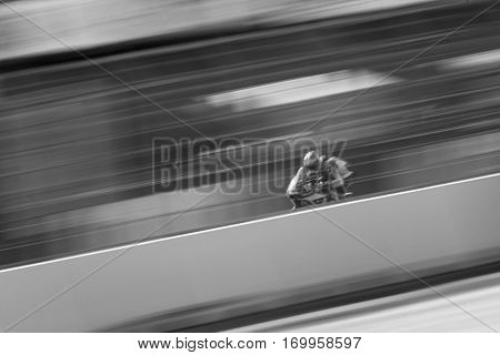VALENCIA, SPAIN - NOV 12: Jesko Raffin in Moto2 practice during Motogp Grand Prix of the Comunidad Valencia on November 12, 2016 in Valencia, Spain.
