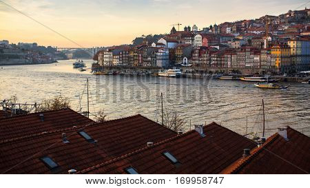 View of Porto old town and Duoro river, Portugal.