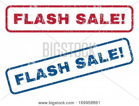 Flash Sale exclamation text rubber seal stamp watermarks. Vector style is blue and red ink caption inside rounded rectangular banner. Grunge design and dirty texture. Blue and red stickers.