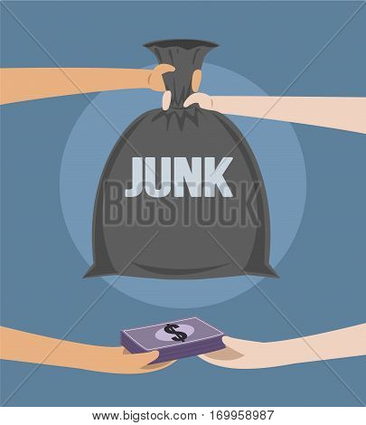 Selling Junk, Trading Junk Vector Concept For Recycling Art Illustration