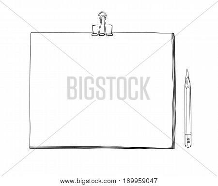 Art Sketchbook Mockup  Blank Paper And Pencil  Hand Drawn Vector Line Art  Illustration