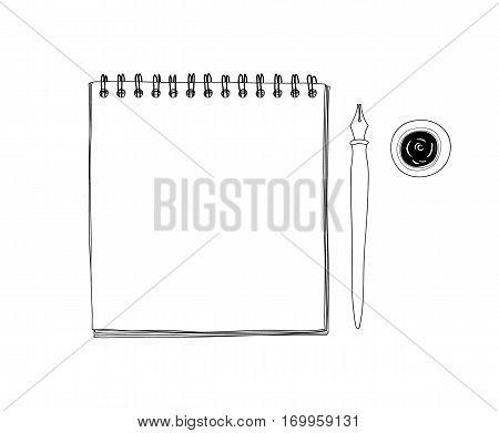 art sketchbook Mockup blank paper and Vintage Dip Ink Nib Pen hand drawn vector line art illustration