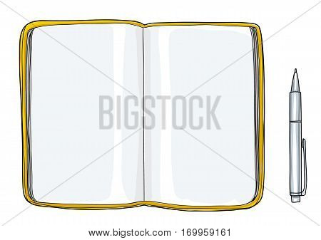 notebook sketchbook Mockup blank paper and Pen hand drawn vector art illustration