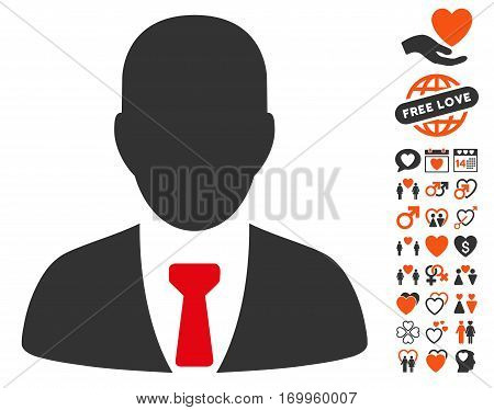 Businessman pictograph with bonus love clip art. Vector illustration style is flat iconic elements for web design app user interfaces.