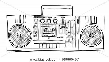 vector Stereo Boombox radio Vintage handdrawn lineart illustration
