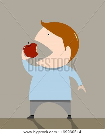 The boy is eating apple vetor illustration