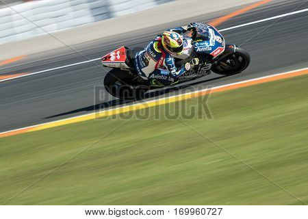 VALENCIA, SPAIN - NOV 11: Hector Barbera during Motogp Grand Prix of the Comunidad Valencia on November 11, 2016 in Valencia, Spain.
