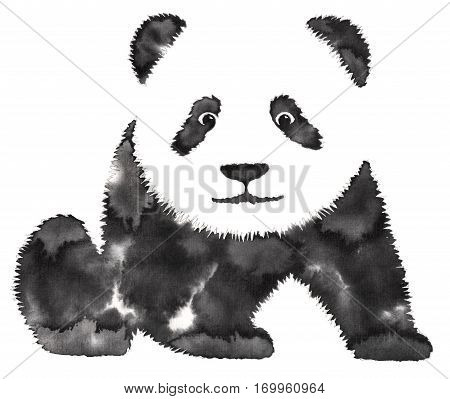 black and white painting with water and ink drawn panda illustration