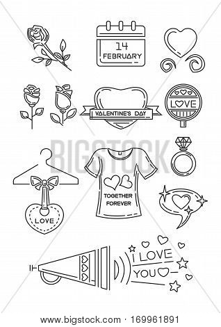 Line icons set for Valentine's Day and other romantic events. I love you. Calendar, 14 February, hearts, rose flower, diamond ring, T-shirt with inscription - together forever. Vector illustration