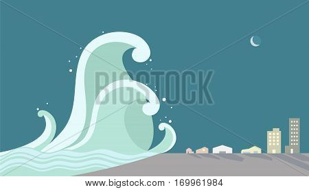 Tsunami attacking the city vector illustration, tidal, art, sea, eps, water, ocean