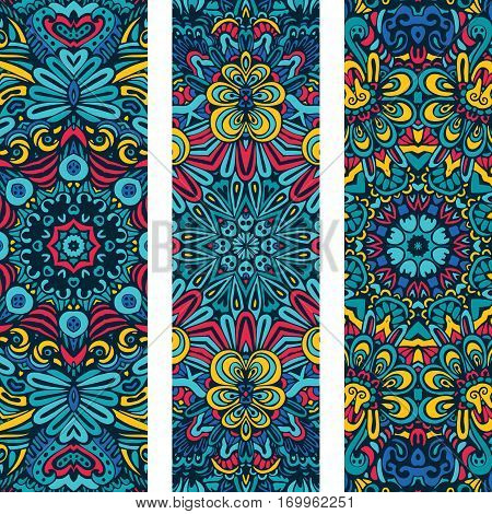 Festive blue colorful ornamental floral vector ethnic banner set