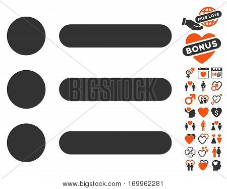 Items pictograph with bonus marriage pictograph collection. Vector illustration style is flat iconic symbols for web design app user interfaces.