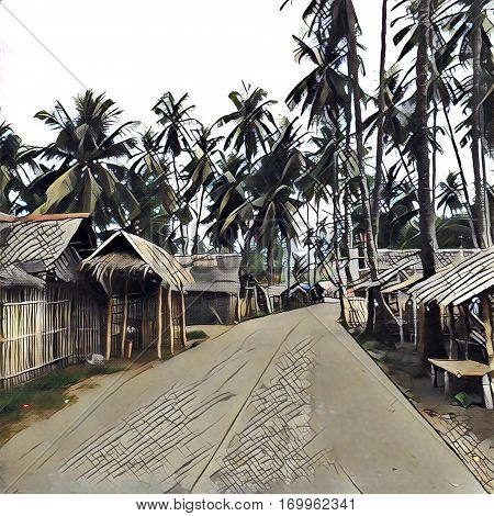 Digital illustration village in jungle. Wooden house with leaf roof and tall coco palm tree image for background. Digital drawing of Philippines hut village street. Empty rural village with palm hut